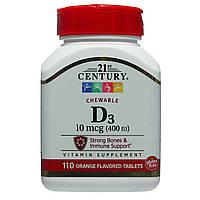 Витамин Д3 в жевательной форме, 21st Century Health Care, 400 МЕ, 110 таблеток