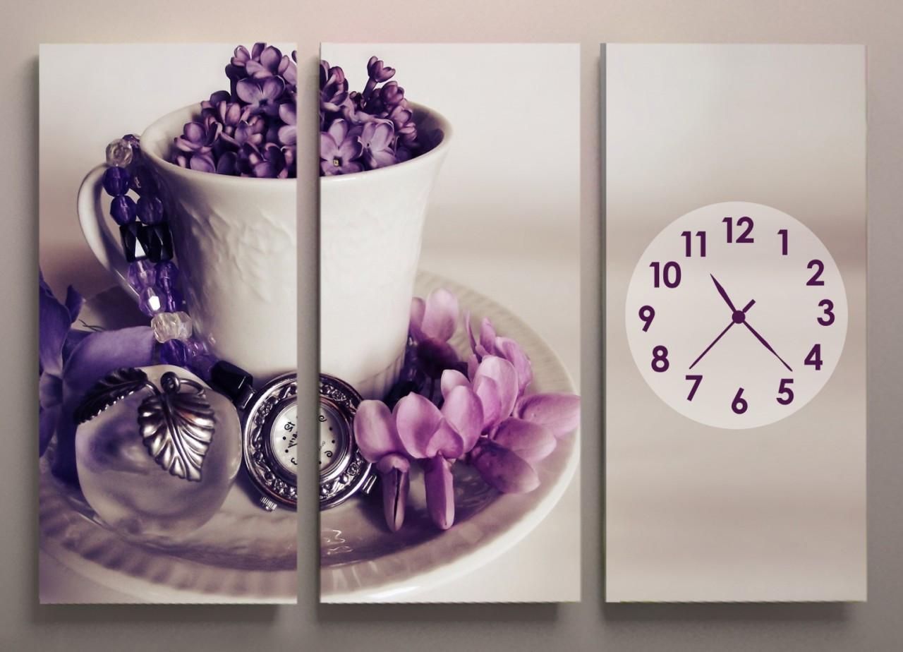 Картина модульная часы для кухни Чашка