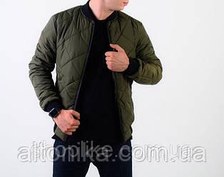 Мужская демисезонная стеганная куртка бомбер синий / черный / зеленый (хаки) / красный (хаки)