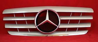 Решетка радиатора Mercedes W210 (99-02) стиль AMG (серебро)