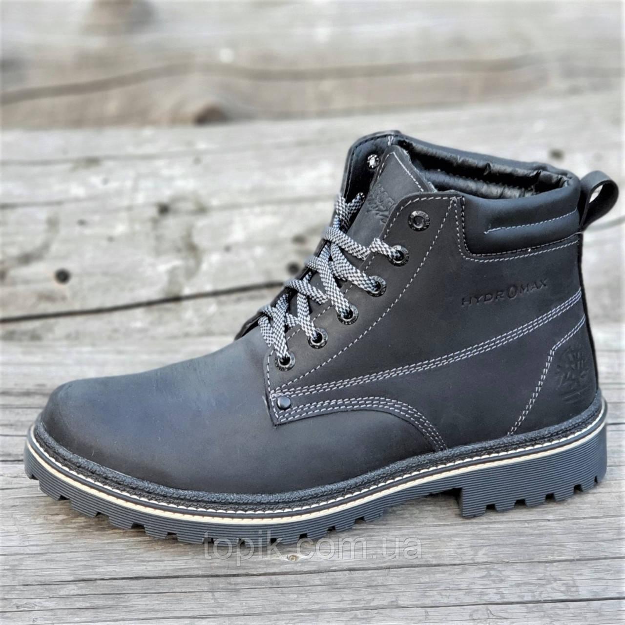 Стильные зимние кожаные ботинки мужские черные натуральный мех на толстой зимней подошве (Код: 1281)