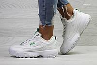 Зимние женские кроссовки Fila белые с зеленым / кроссовки женские зимние Фила