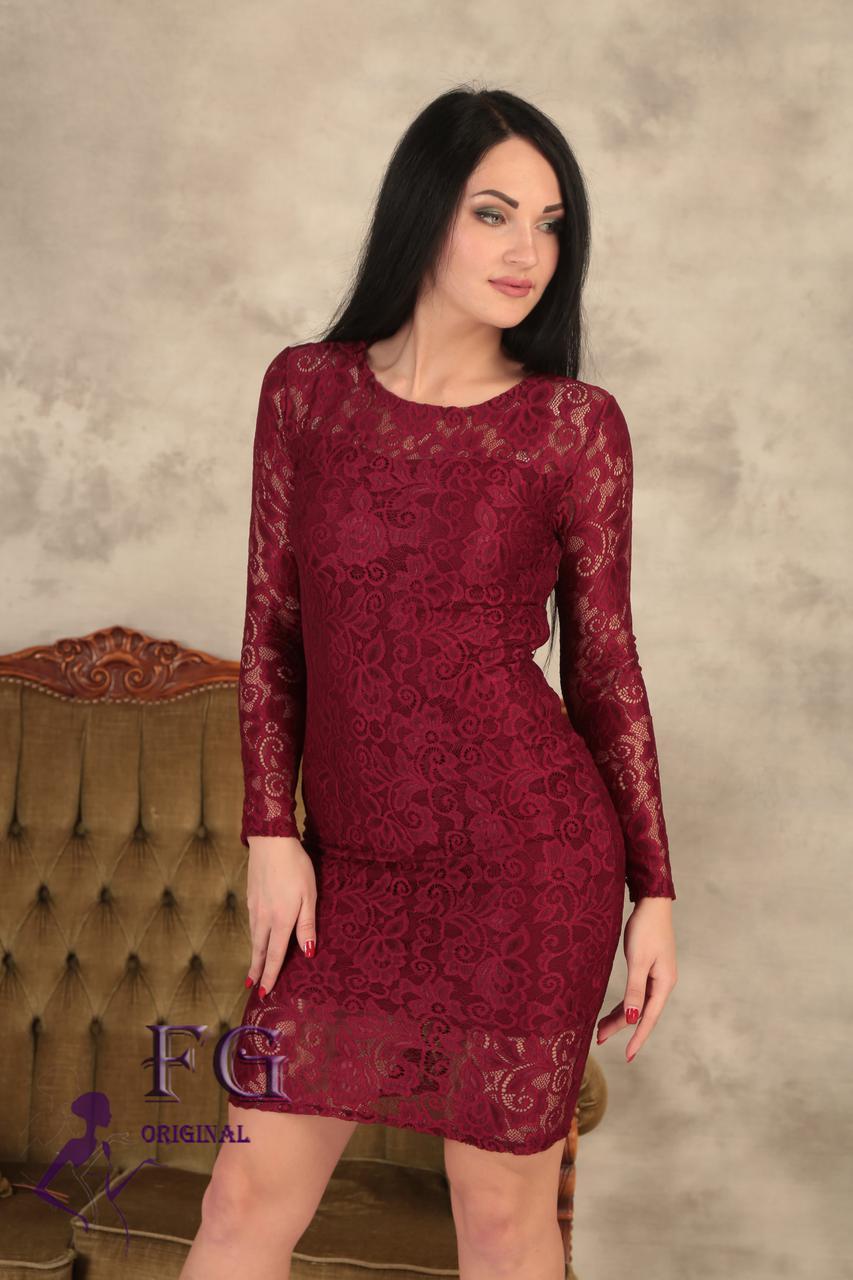 """Модное гипюровое платье """"Люсия"""" 42, бордовый"""