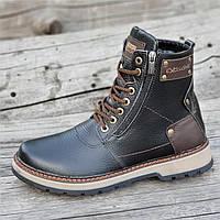 Зимние мужские высокие ботинки, сапоги кожаные черные на молнии и шнуровке натуральный мех (Код: 1282)