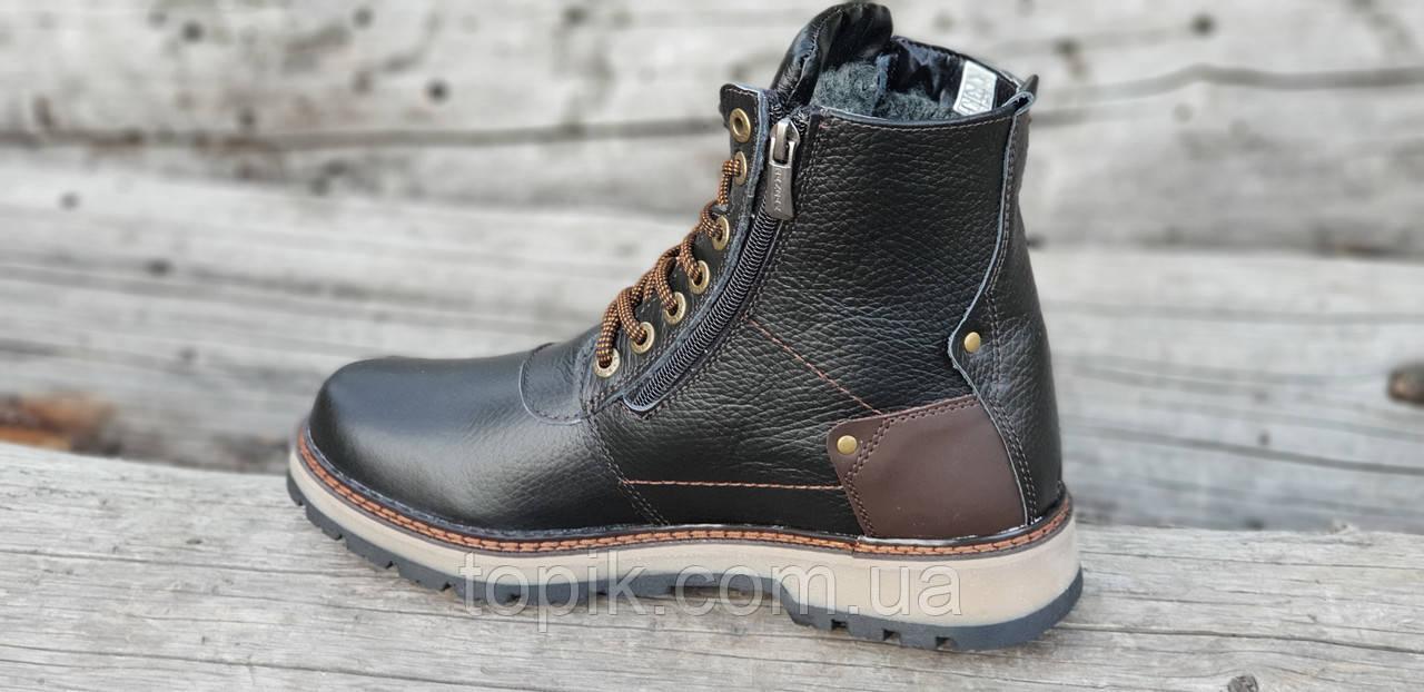 e1e1ab16a ... Зимние мужские высокие ботинки, сапоги кожаные черные на молнии и  шнуровке натуральный мех (Код ...