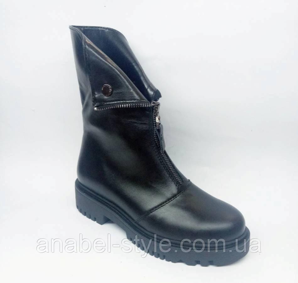 Ботинки на утолщенной подошве осенне-весенние из натуральной кожи спереди молния Код 1818 AR