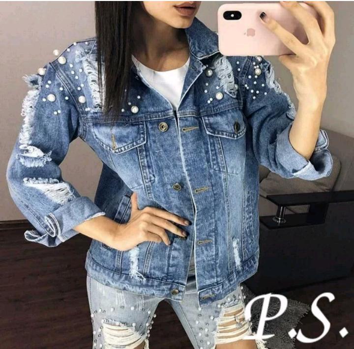 0ef759da Женская джинсовая Куртка украшена жемчужинами и заклепками(размер 42 -46)06-11