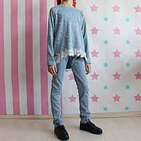 Трикотажный костюм девочке Милана: кофта штаны с бусинами размер 134, фото 1