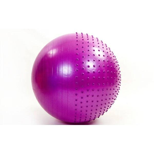 Мяч (фитбол) для фитнеса полумассажный 2 в 1 OSPORT 65см (FI-4437-65) Фиолетовый