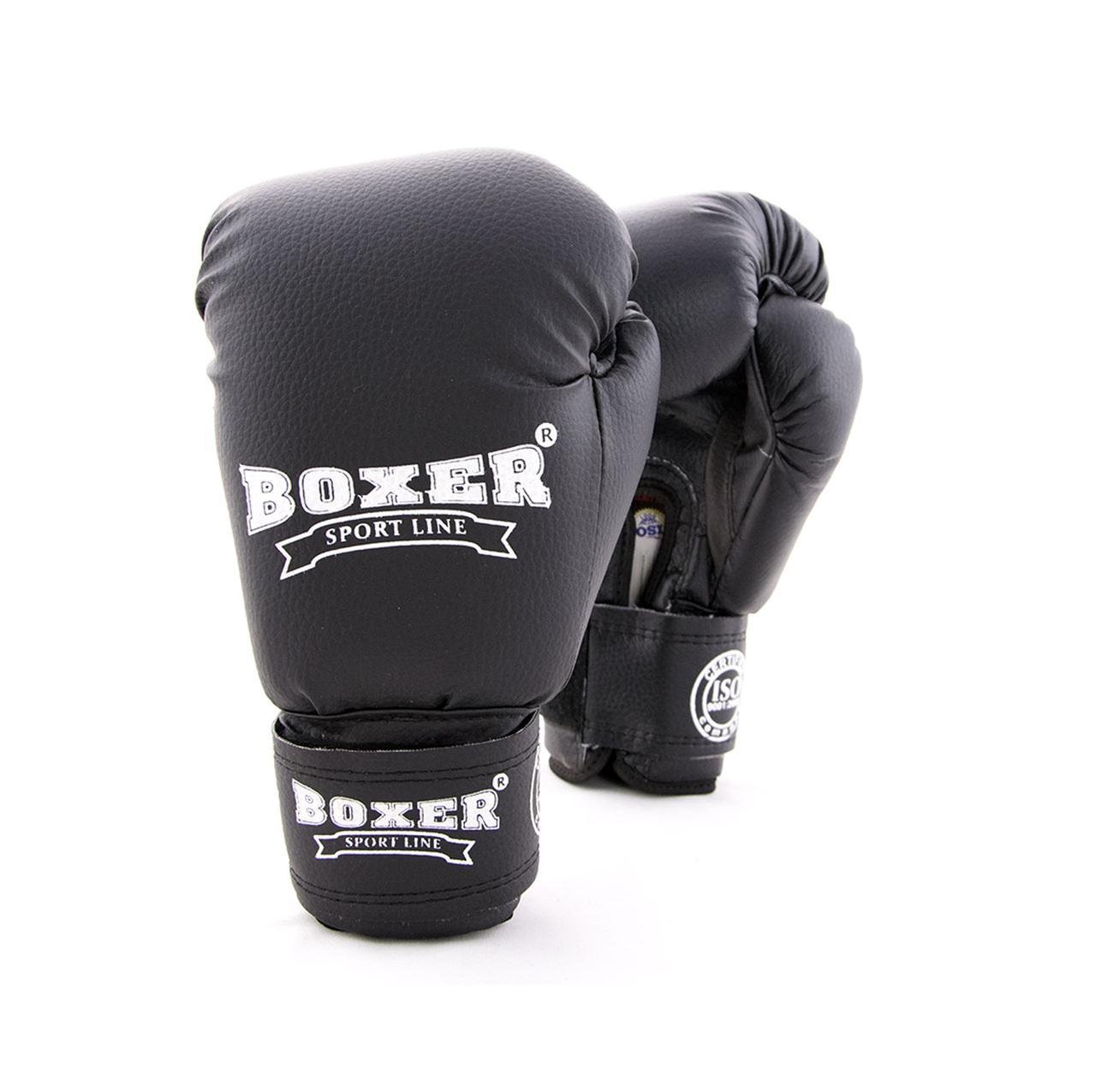 Дитячі боксерські рукавички зі кожвинила Boxer 6 унцій (bx-0021) чорний