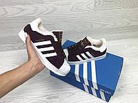 Зимние женские кроссовки Adidas Superstar бордовые / кроссовки женские зимние Адидас