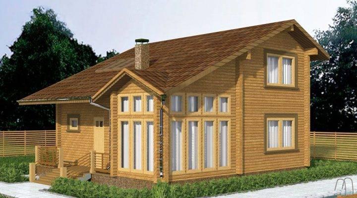 Дом деревянный из профилированного клееного бруса 9х10 м