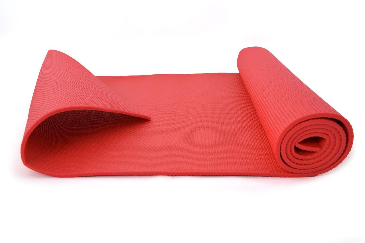 Коврик (мат) для йоги и фитнеса ПВХ OSPORT 6мм (MS 1184) Малиновый