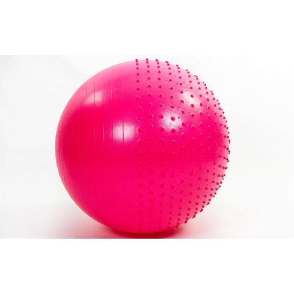 М'яч (фітбол) для фітнесу полумассажный 2 в 1 OSPORT 85 см (FI-4437-85) Рожевий