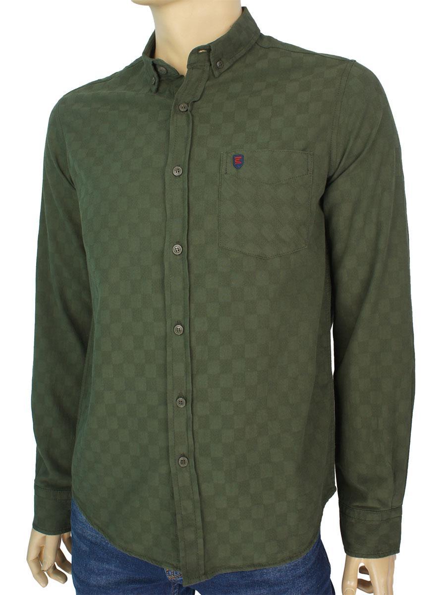 Чоловіча турецька сорочка Cordial CO 2045 K98-1219 haki зеленого кольору