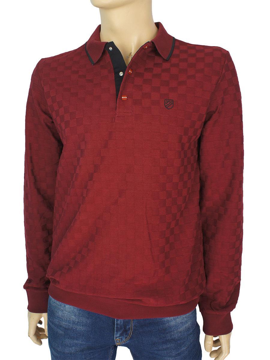 Бордовий бавовняний светр Fabiani 22681 Bordo для чоловіків