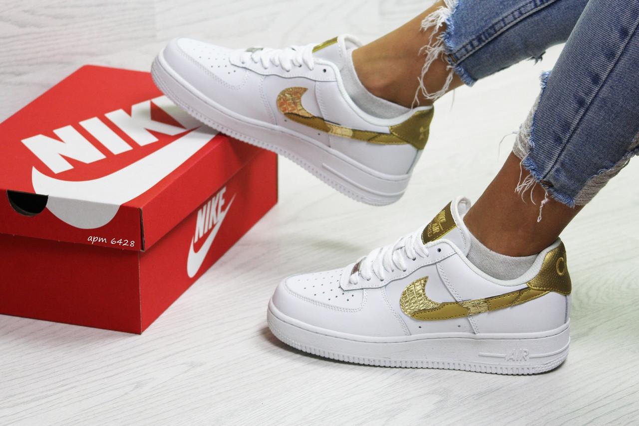 d05948ef Женские кроссовки Nike Air Force 1 CR7 белые с золотом / кроссовки женские  Найк