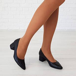 Классические туфли лодочки женские 36-38 Woman's heel черные на удобном каблуке