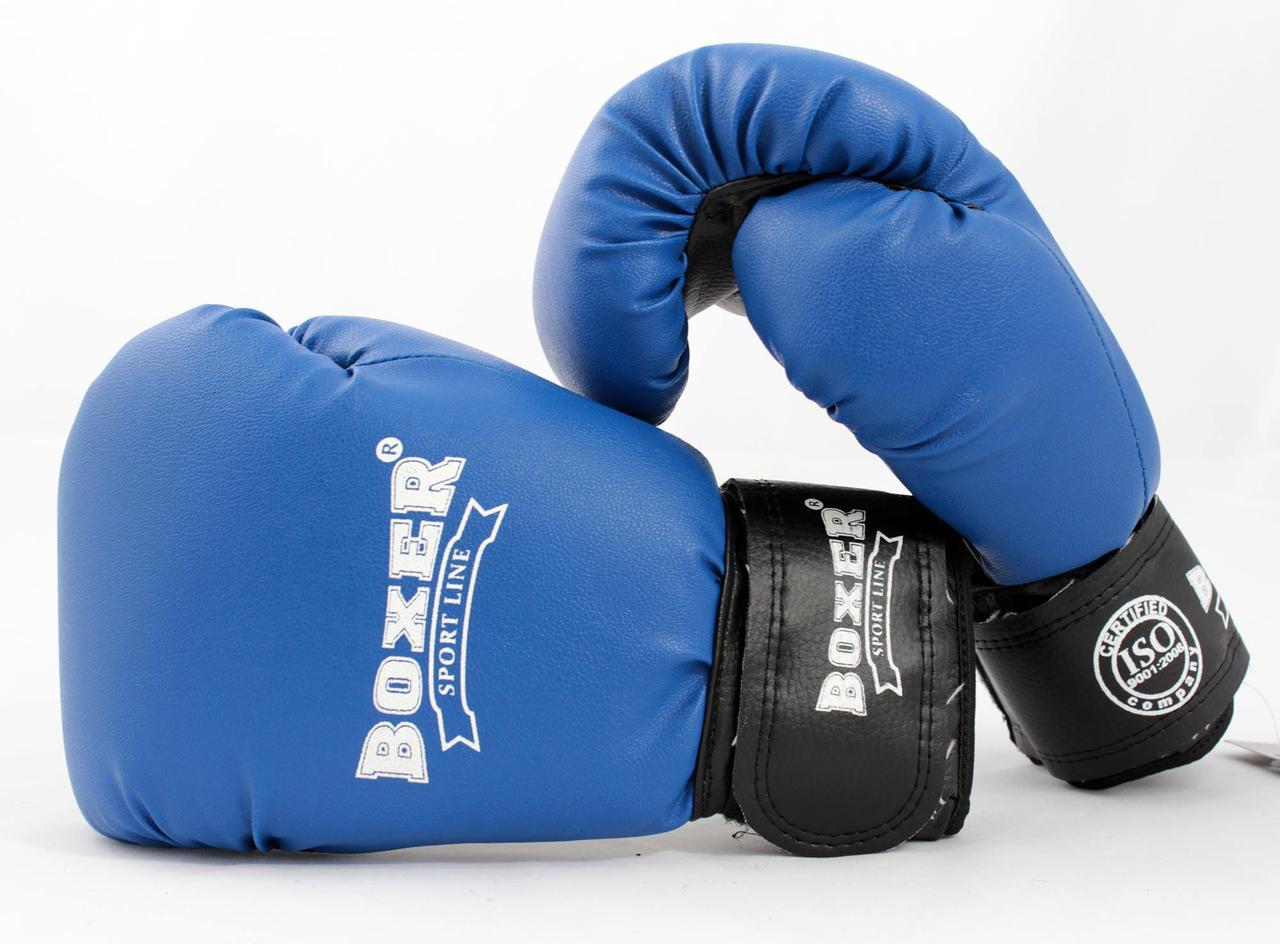 Рукавички боксерські з кожвинила Boxer 12 унцій (bx-0034) синій