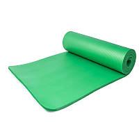 Коврик-Мат для йоги и фитнеса из вспененного каучука OSPORT Premium NBR 183х61см толщина 1см (FI-0075) Зеленый