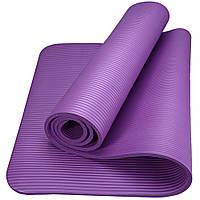 Коврик-Мат для йоги и фитнеса из вспененного каучука OSPORT Premium NBR 183х61см толщина 1см (FI-0075) Фиолетовый