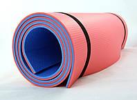 Коврик (каремат) универсальный для спорта и туризма OSPORT Profi 8мм (FI-0122) Сине-красный
