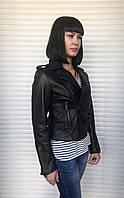Куртка кожаная натуральная женская косуха черная на молнии бренд копия, фото 1