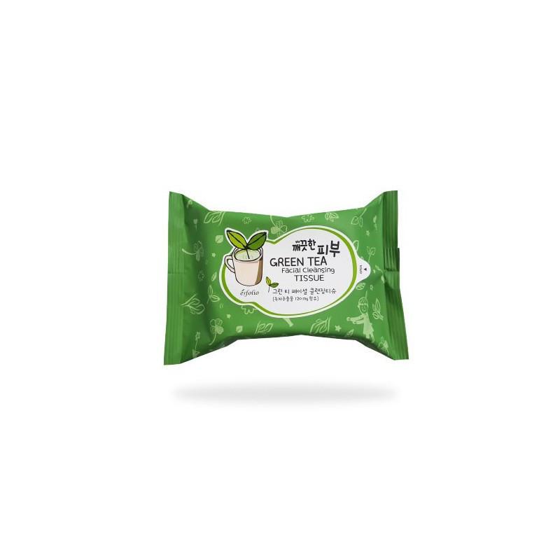 Очищающие салфетки с зеленым чаем ESFOLIO PURE SKIN GREEN TEA FACIAL CLEANSING TISSUE, 20шт.