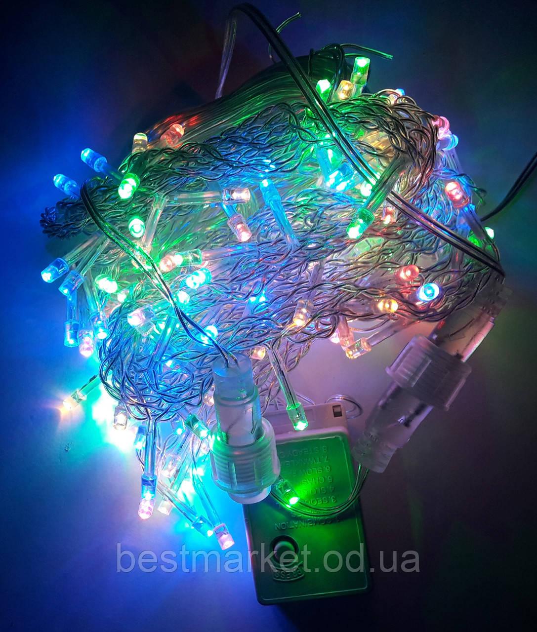 Светодиодная Гирлянда Штора 140 Led 3 х 0,7 м Цветная MixF с Режимом