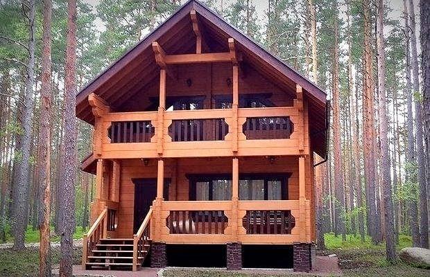 Дом деревянный из профилированного клееного бруса 9х8 м