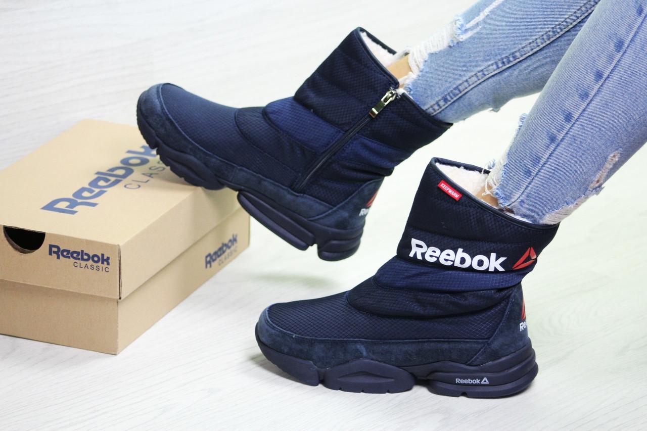 Женские ботинки Reebok зимние на меху, молодежные удобные сапоги рибок на каждый день (синие), ТОП-реплика