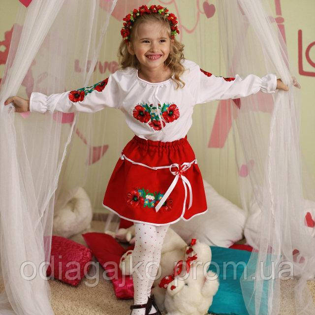 ... фото Вишиванка вишитий костюм Маки гладь 10-11 років спідничка+блузка  машинна вишивка a7f812c908177