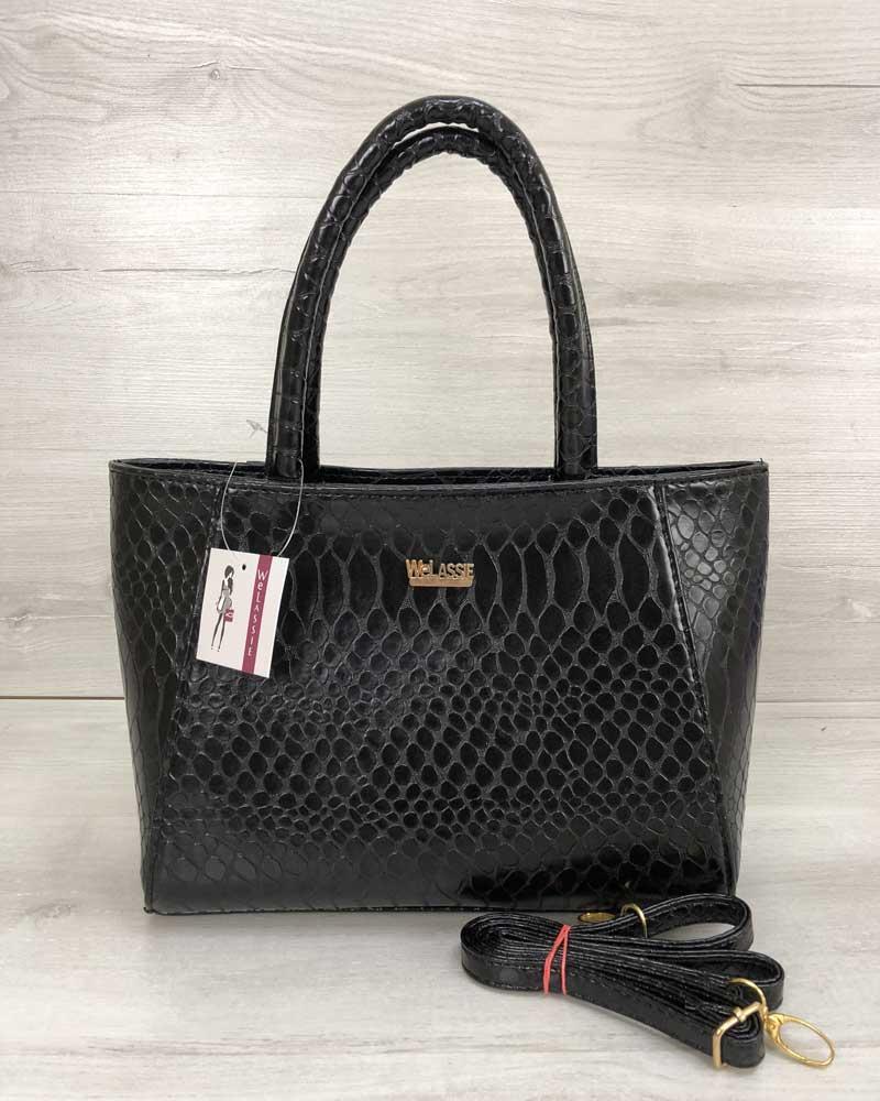 f2b76eff2bb3 Черная лаковая сумка 55607 корзина с ручками и ремешком под кожу питона,  фото 1