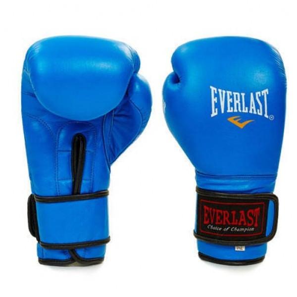 Рукавиці боксерські шкіряні Еverlast (ПО-4748) 12 унцій Синій