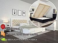 Кровать деревянная с подъемным механизмом Регина Люкс Ромб из натурального дерева двуспальная