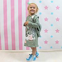 Платье с рюкзачком для девочки зеленое размер 110-116-122-128