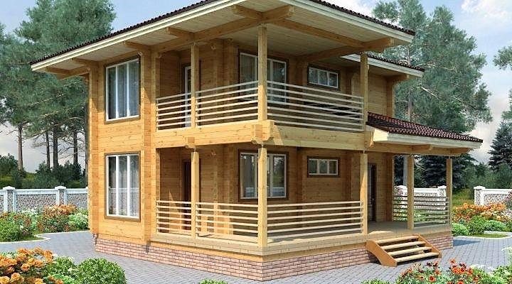 Дом двухэтажный, деревянный из профилированного клееного бруса 9х9 м