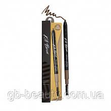 Стойкий гелевый карандаш с эффектом татуажа CLIO KILL BROW с щеточкой цвет светло-коричневый