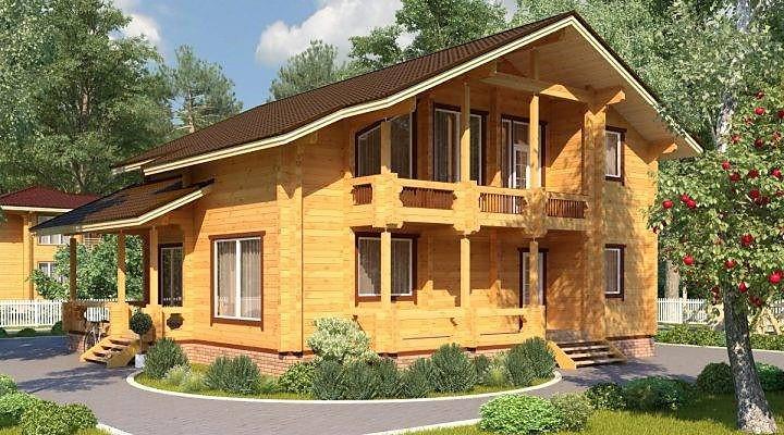 Деревянный двухэтажный дом из профилированного клееного бруса 11х12 м