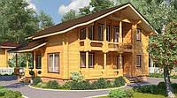 Деревянный двухэтажный дом из профилированного клееного бруса 11х12 м, фото 1