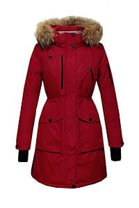 Пуховик парка Snowimage с мехом удлиненная красного цвета