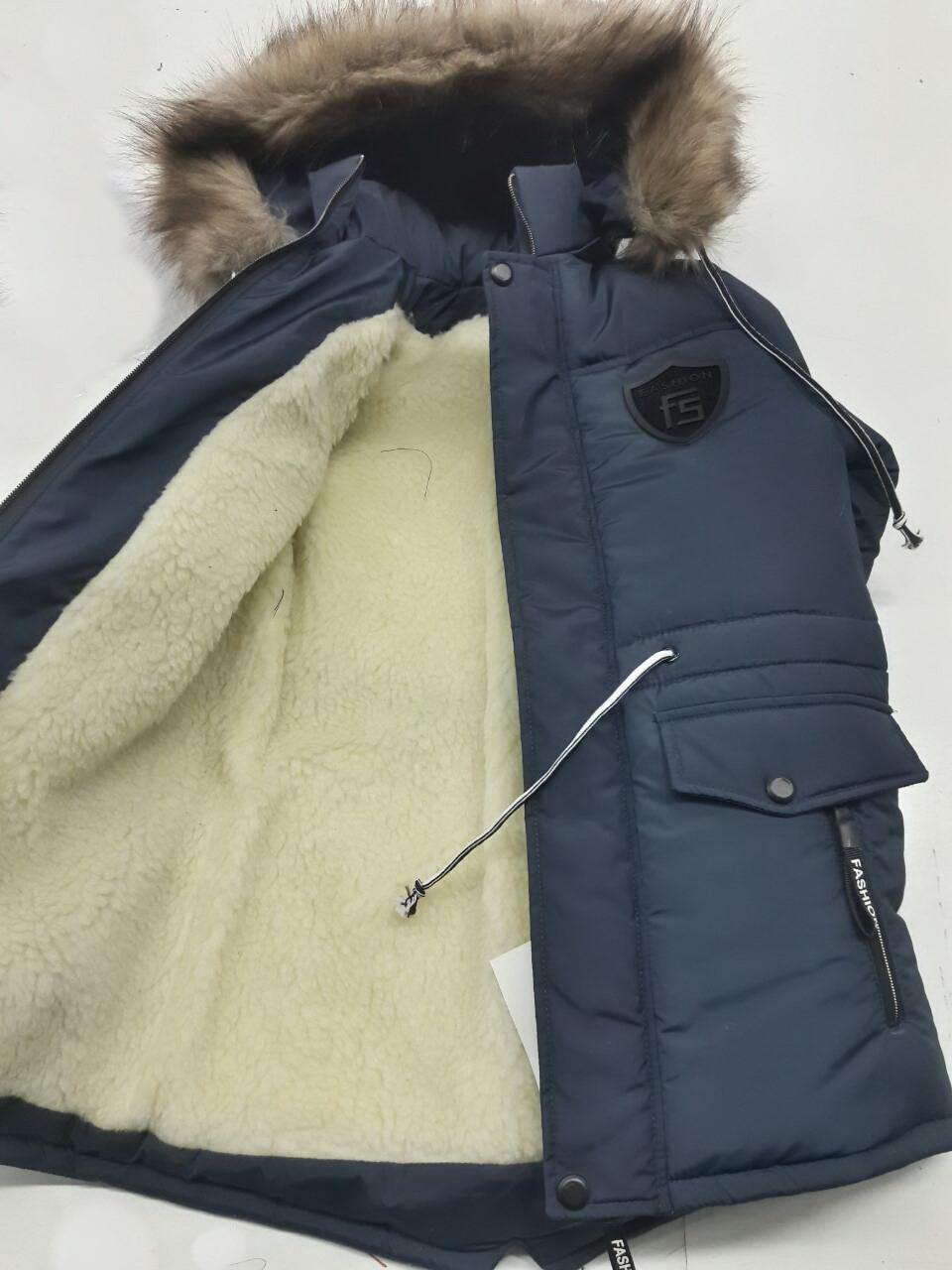 Практичная куртка-парка на меху для мальчика-подростка 146-164