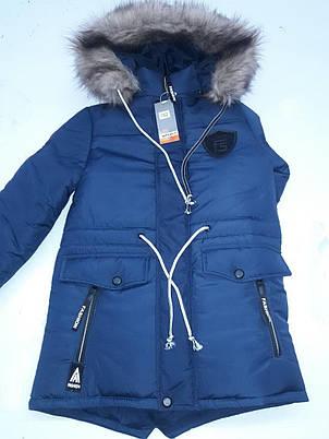 Практичная куртка-парка на меху для мальчика-подростка 146-164, фото 2
