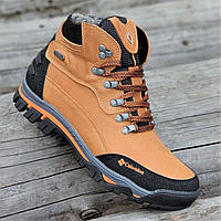 Мужские спортивные зимние ботинки кожаные натуральный мех рыжие на толстой  зимней подошве (Код  295в 8f26f8854a4c1