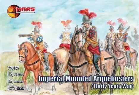 Imperial mounted arquebusiers. Фигурки из пластика в масштабе 1/72. MARS 72037, фото 2