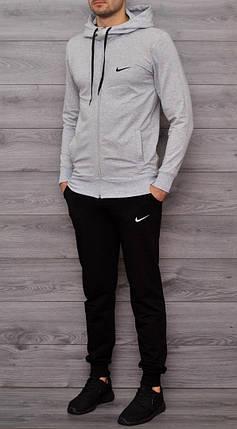 Спортивный костюм Nike серо-черный топ реплика, фото 2