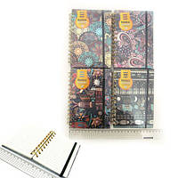 "Блокнот спираль на резинке ""Абстракция"" лин., А6 80g P80, COLOR/BOX, mix4"