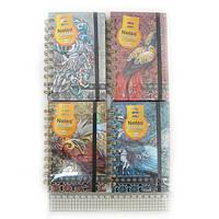 """Блокнот спираль на резинке """"Птицы"""" лин., А6 80g P80, COLOR/BOX, mix4"""