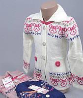 Кофточка свитер для девочки на пуговицах  розовая 3-4 года, 5-6 лет