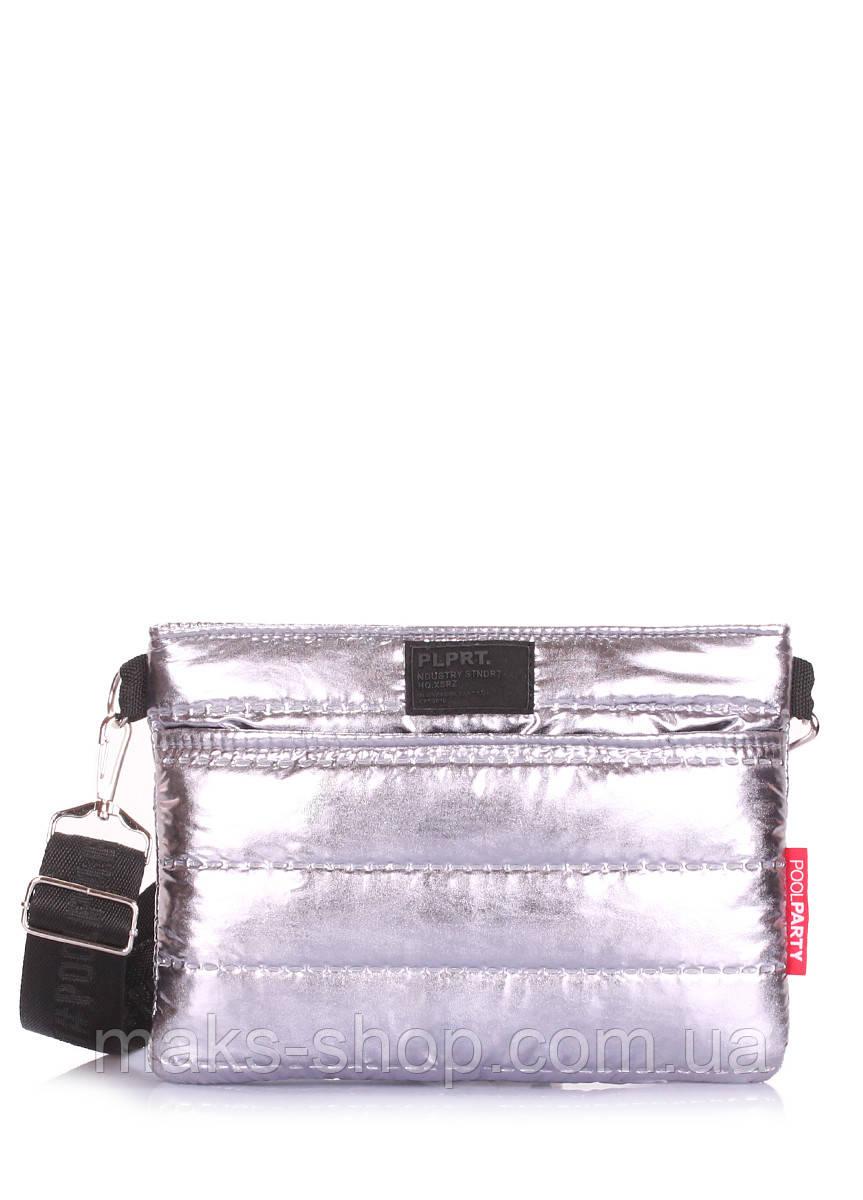 aa5a50e575a7 Стеганая женская сумка POOLPARTY Puffer на пояс/на плечо puffer-silver